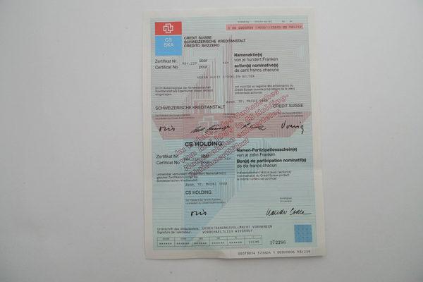 Aktie Zertifikat SKA 984.239; 10. März 1988