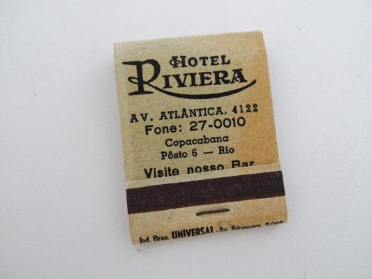 Zündholzbriefchen Hotel Riviera, Copacabana, Rio de Janeiro