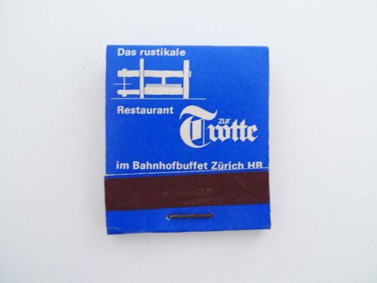 Zündholzbriefchen Zur Trotte im Bahnhofbuffet Zürich
