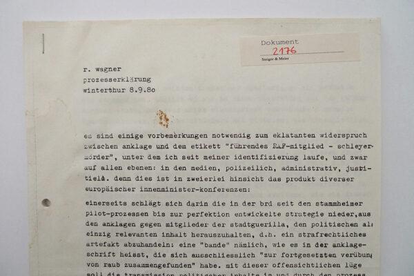 Prozesserklärung r. wagner; Winterthur 8.9.1980